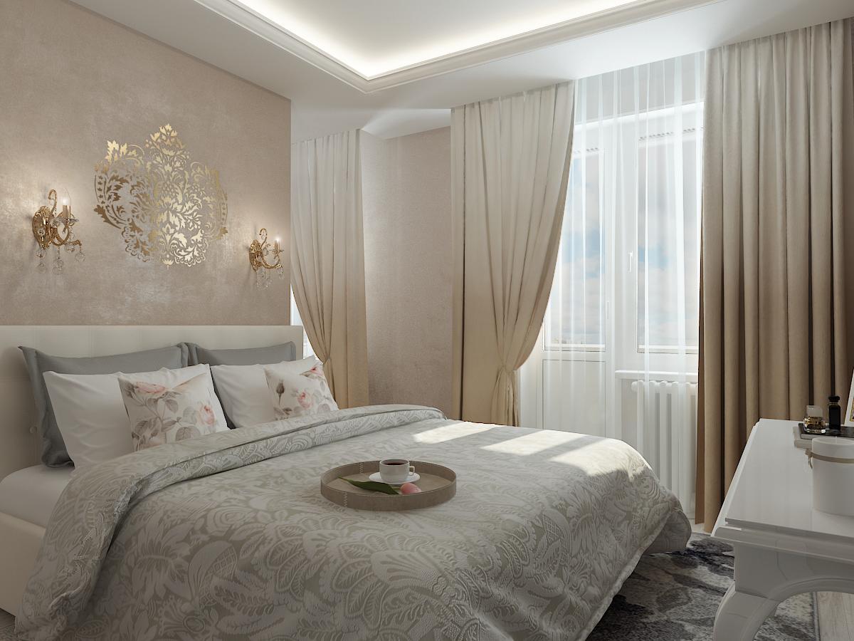 Дизайн-проект двухкомнатной квартиры. Интерьер спальни 1