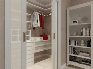 Дизайн-проект двухкомнатной квартиры. Интерьер спальни. Гардеробная