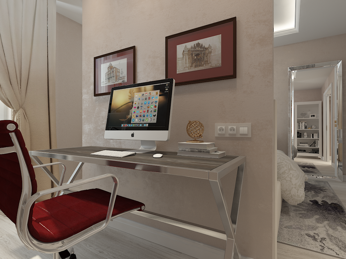 Дизайн-проект двухкомнатной квартиры. Интерьер спальни. Кабинет 1