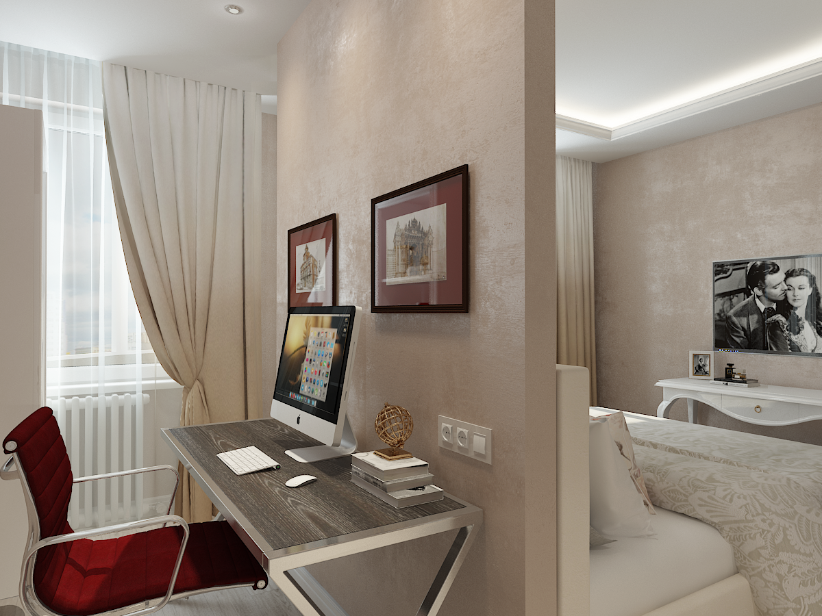 Дизайн-проект двухкомнатной квартиры. Интерьер спальни. Кабинет 2