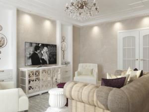 Дизайн-проект квартиры в классическом стиле. Интерьер гостиной 1