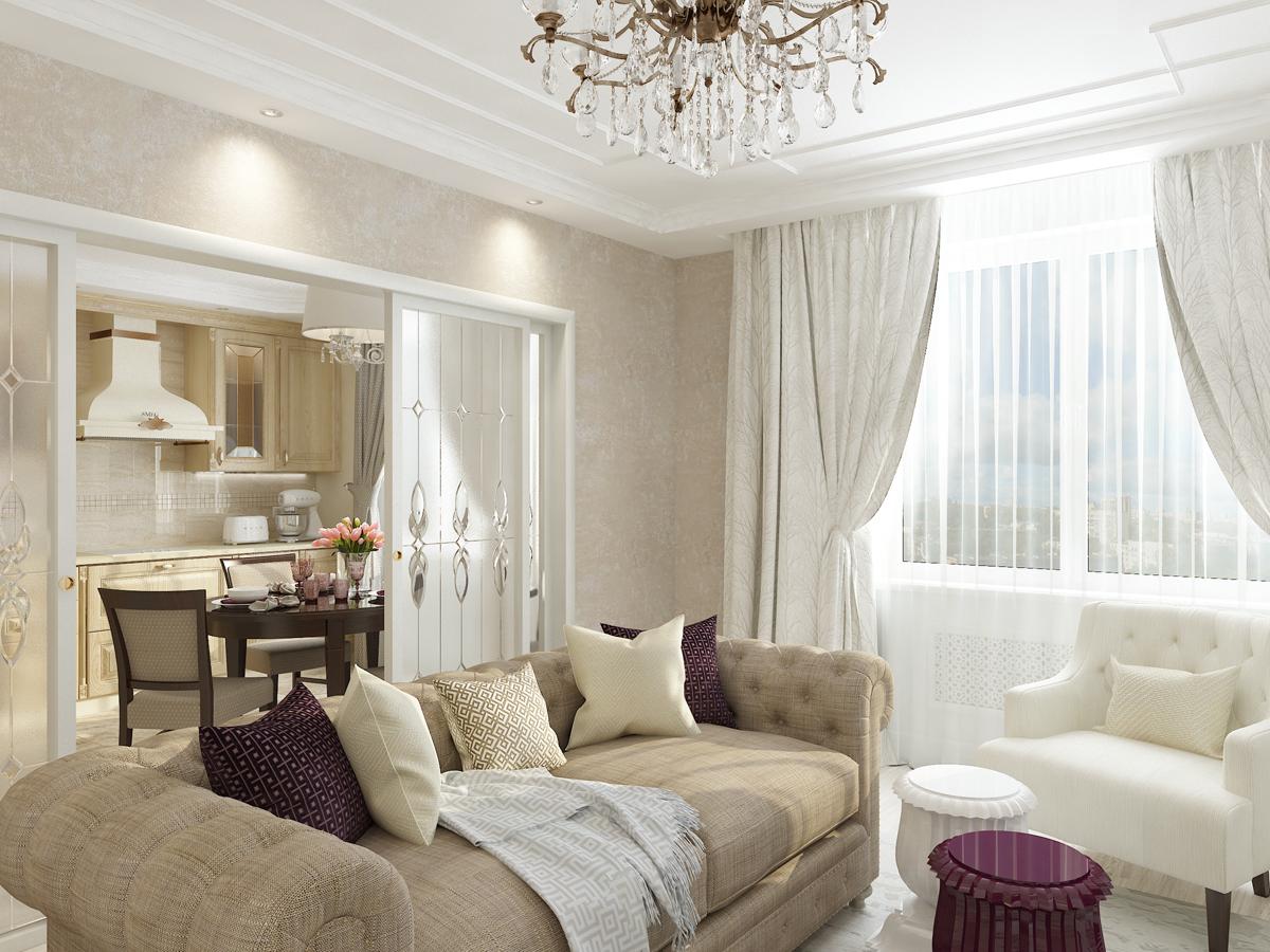 Дизайн-проект квартиры в классическом стиле. Интерьер гостиной 3
