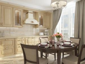 Дизайн-проект квартиры в классическом стиле. Интерьер кухни 1