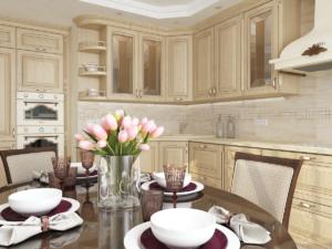 Дизайн-проект квартиры в классическом стиле. Интерьер кухни 2