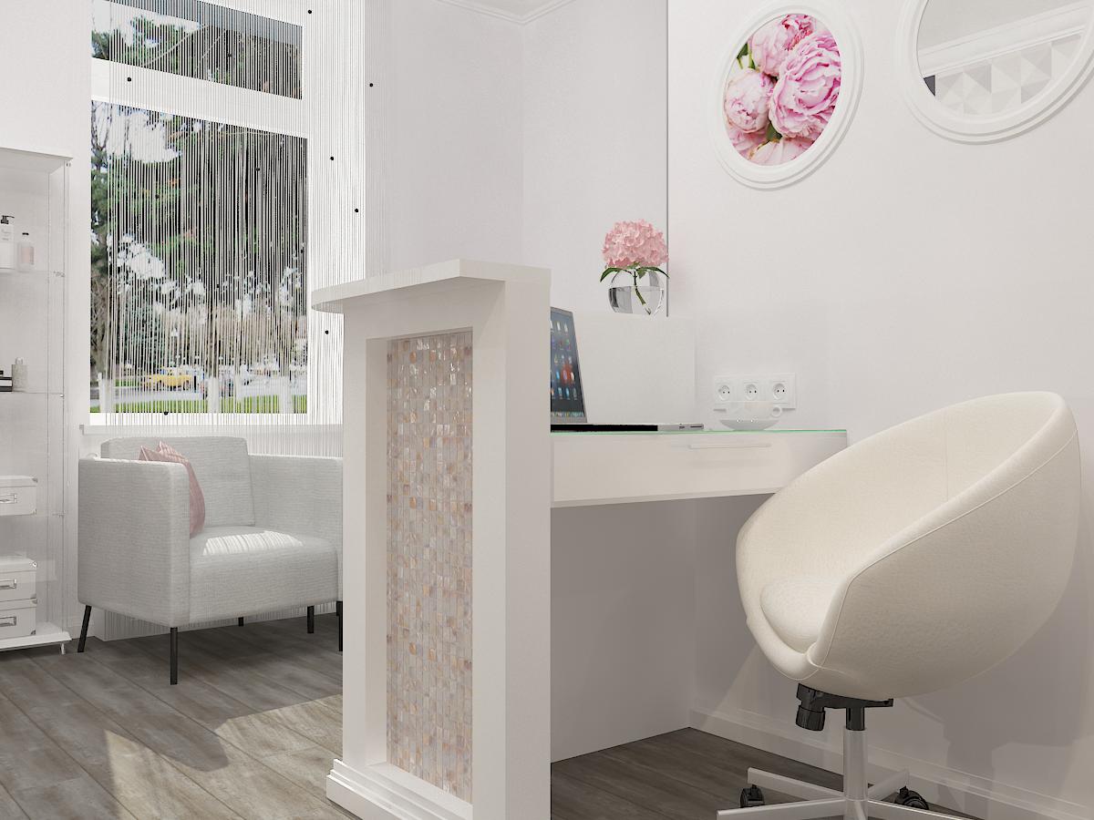 Дизайн-проект салона красоты. Интерьер основного зала. стойка ресепшн